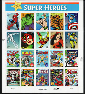 2007 #4159 - 41¢ - MARVEL SUPERHEROES  Sheet of 20 Mint NH SPIDERMAN HULK THING