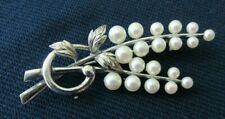 Mikimoto Pearl Brooch Sterling silver Pin 19 pearls Signed