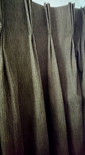 "Bespoke Lined Brown Curtains weights Pinch Pleat metal hooks  46"" W x 95"" D"