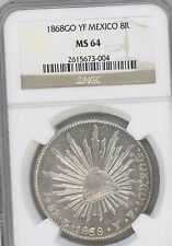 1868-Go YF  Mexico. 8 Reales, KM-377.8   GRADED BY  NGC AS   MS64  --GREAT COIN