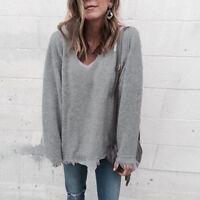 Women V-Neck Long Sleeve Tassel Knitted Sweater Jumper Pullover T-shirt Tops