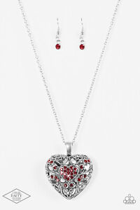 ~Heartless Heiress~ Red Heart Necklace & Earrings Paparazzi Jewelry