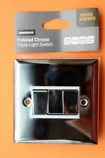 Homebase Die Cast 3G Triple Light Switch 2 way 10AX White Ins Polished Chrome