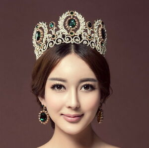 9cm High Crystal Tiara Earrings Set Wedding Party Pageant Prom Crown - 5 Colors