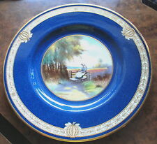 ANTIQUE ARTIST SIGNED RAISED GOLD BEADS SCENIC COPELAND SPODE CABINET PLATE