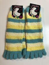 TSK03 Frogs Plastic-Printed Cozy Striped Toe Socks Sz 9-11