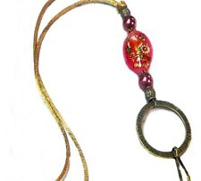 Cord Lanyard necklace, id badge pen keys reading glasses holder Red Tensha Bead