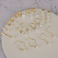 Gift Geometric Irregular Circle Metal Gold Drop Dangle Baroque Pearl Earrings