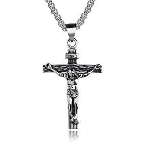 UNISEX ANHÄNGER KREUZ EDELSTAHL SILBERFARBEN KREUZ MIT KETTE JESUS KRUZIFIX