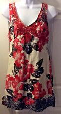 Women's FREE PEOPLE Red Floral Cotton Dress Shift Ivory V-Neck Embroidered Sz 2