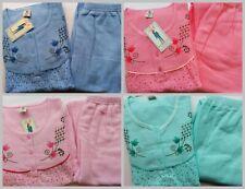 fraulicher Damen Frottee Pyjama Schlafanzug Baumwollmischung     6 Farben