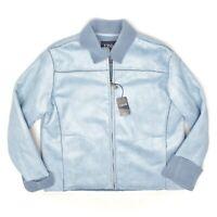 Izod Outerwear Womens Fleece Jacket L Ice Blue Faux Suede Full Zip Sherpa Cuff