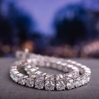 10.50Ct Round Brilliant DEF certified Moissanite Tennis Bracelet 14K White Gold