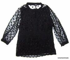 ALFANI Womens PLUS 2X 18 20 Black Sheer Lace Top Shirt Empire Waist Babydoll