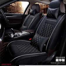 Deluxe PU leather Size MCar Seat Cover Full Front+Rear Cushion 5-Seats W/Pillow