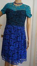NWT Belle Badgley Mischka Blue Color Block Lace Overlay Dress Sz 6 $189 NWT!l