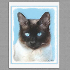 6 Siamese Cat Blank Art Note Greeting Cards