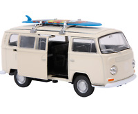 "1:34 WELLY Model Car ""VW Bus T2 Model + Surfboard"" Beige Colour Metal Age 5+"