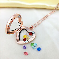Lockets Living Memory Pendant Necklace Love & Heart Birthstone Crystal Floating