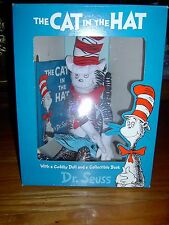 """NEW-DR SEUSS'S-THE CAT IN THE HAT BOX SET-16"""" STUFFED CAT & COLLECTORS ED. BOOK"""