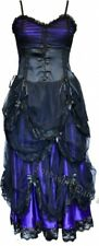 Dark Star Gothic Burlesque Laced Corset Long Dress Purple Satin Black Net 10-14