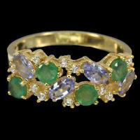 Unheated Oval Tanzanite Emerald Cz 14K Gold Plate 925 Sterling Silver Ring