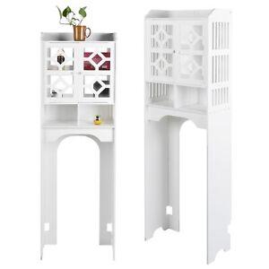 4-Tier Over Toilet Bathroom Storage Rack Shelf Washing Machine Cabinet 2 Doors
