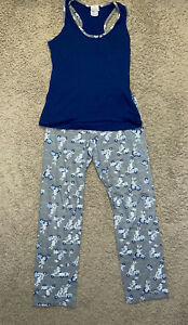 Junior's 2 Pc Munki Munki Closet tank top pajama set Size M Bunny On Scooter