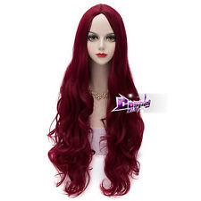 80CM Dark Red Curly Long Hair Lolita Elegant Women Daily Party Cosplay Wig + Cap