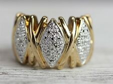 MODERN  DIAMOND ACCENT 925 Sterling Silver GOLD RING BIG LUXUARY SZ-6 -N2328