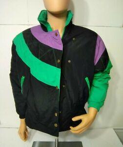 Vintage 80s 90s Mixed Blues Ski Coat Retro Neon Colorblock Jacket Medium Winter