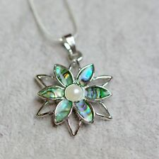 Silver Plated Green Shades Abalone Paua Flower With Faux Pearl Pendant Necklace