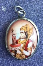 Hindu Deity Pendant Metal and Enamel HANUMAN w/ Rust Background
