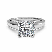 Hallmarked 14K White Gold Cushion Cut 2.00Ct Diamond Solitaire Ring Size N M I P
