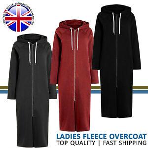 Women Ladies Soft Fleece Hoodie Long Zipper Outwear Gown Style Winter Overcoat
