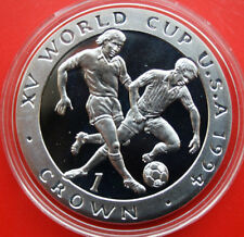 "Isle of Man: 1 Crown 1994 Silber, ""Soccer WC 1994"", #F 1057, PP-Proof, rare"
