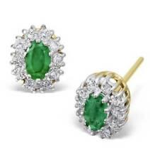 Pendientes de joyería de oro amarillo de 18 quilates esmeralda