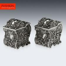 More details for antique 19thc georgian solid silver chinoiserie tea caddies, j & j angell c.1834