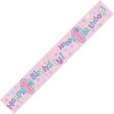 BABY'S GIRLS 1ST BIRTHDAY PARTY BANNER -  PINK DESIGN -  age 1 DECORATION