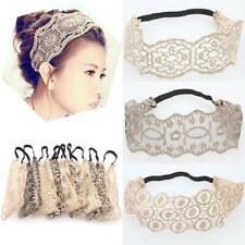 Women's Hollow Lace Flower Headband Elastic Headwear Headwrap Hair Accessories