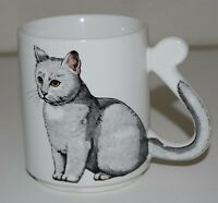 NICE Vintage Gray / White CAT Coffee Mug Cup w/ Tail Shaped Handle JAPAN Rare
