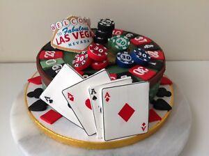 Edible CASINO LAS VEGAS CARDS Cake Decoration Cake Topper