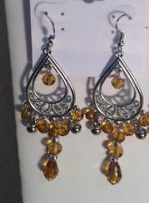 """Silver Plated Pierced Chandelier Earrings Rounded 3 1/2"""" in 9 Colors"""