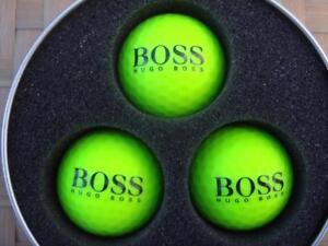3 x Hugo Boss Green - Prisma Fluoro Ti Golf Balls + Free Boss Tees