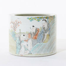 EARLY 20TH CHINESE SCHOLARS FAMILLE ROSE PORCELAIN BRUSH POT WITH CALLIGRAPHY