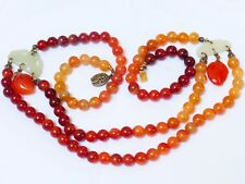 With Jade Necklace, silver clasp, 78g Chinese Vintage / Antique Carnelian Beaded