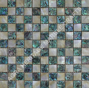 """24"""" Yellow and Green Mother of Pearl Mosaic Inlay Marble Coffee Table Top E262"""