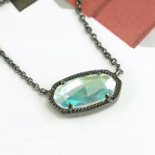 NWT Kendra Scott Elisa Iridescent Necklace Dichroic Glass Gunmetal Color Bar