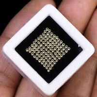 VVS 100 Pcs Natural Yellow Sapphire 1.25mm Round Diamond Cut Sparkling Gemstones