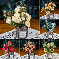 Large 10 Heads Silk Rose Artificial Flowers Fake Bouquet Buch Home Party Deco